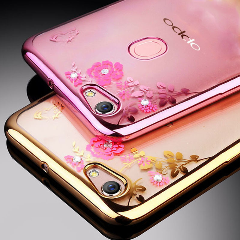 For OPPO F5 Case Silicone Glitter Flower Bling Diamond Bumper Cover For OPPO F5 Youth Case Soft TPU For OPPO F5 Phone Cases Bags