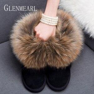 Image 3 - Women Boots Genuine Leather Real Fox Fur Brand Winter Shoes Warm Black Round Toe Ankle Plus Size Female Snow Boots DE