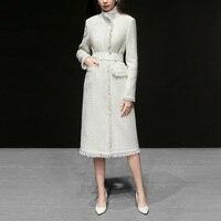 Winter White Elegant Ladies Office Coat Women 2019 Turtleneck Long Sleeve Medium Long Wool Coat Jacket Thick abrigo mujer