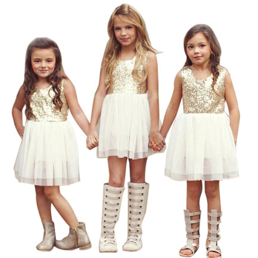 где купить Sequins Baby Girl Dress Bow Backless Party Gown Sister Kids Bridesmaid Princess Dresses Costume For Girls 3~7T vestidos infantis по лучшей цене