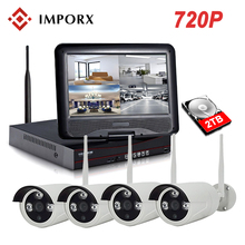 IMPORX 4CH 720P Wireless CCTV System NVR Kit 10 LCD Monitor Screen 1.0MP Outdoor Security Wifi IP Camera Video Surveillance Set wetrans wireless camera security system hd 1080p audio cctv wifi nvr kit home video surveillance outdoor wi fi ip camera set