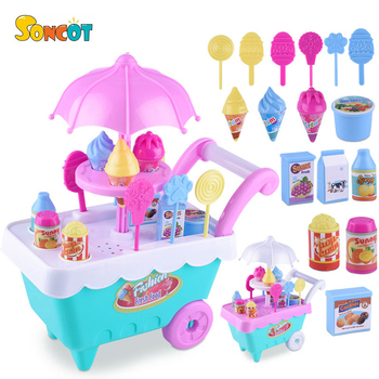 SONCOT Children Shopping Home Simulation Toy Sweet Shop Mini Ice Cream Trolley Toy Supermarket Candy Cart Toy Storage Box ice cream cart toy