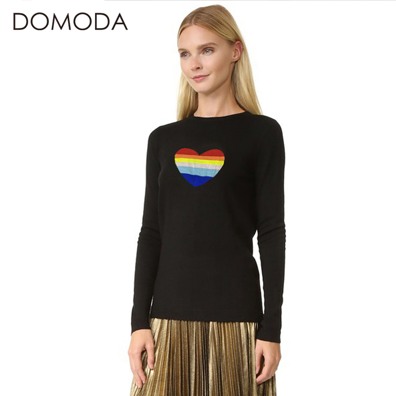 DOMODA Women Fashion Sweaters Solid Black Crew Neck Long Sleeve Sweater Rainbow Heart Print Female Tops