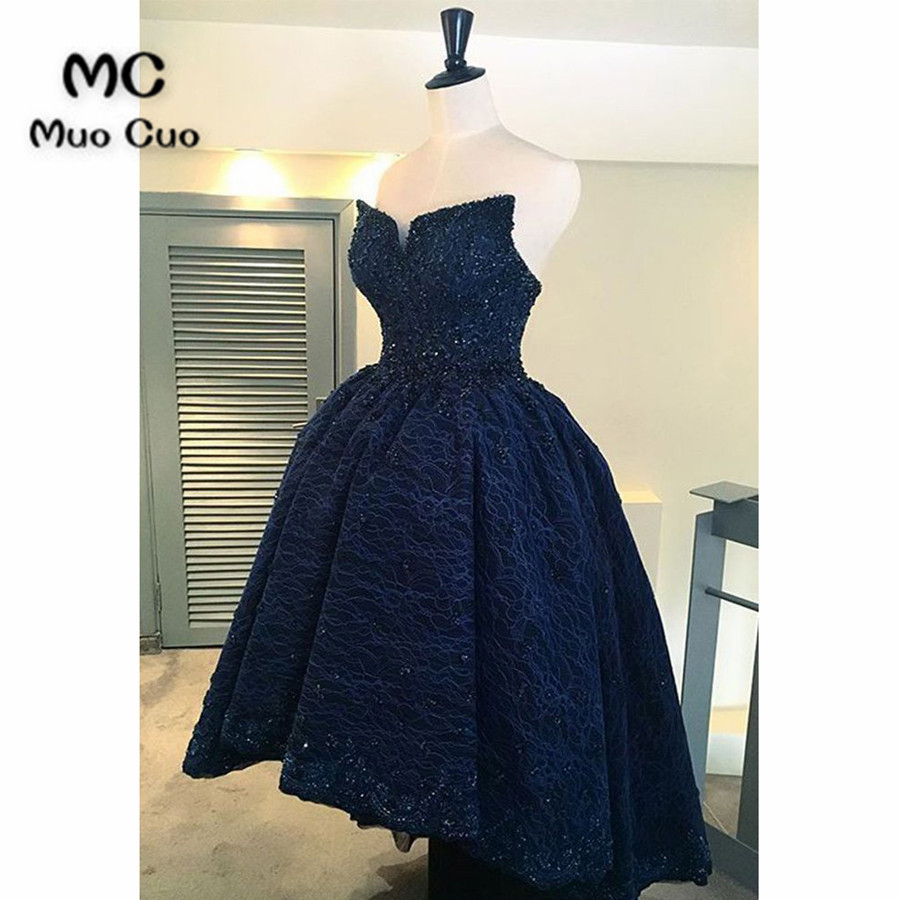 2019 Dark Blue Prom Dresses Long Hi Lo Gown Lace Up Back Beaded Lace Strapless Formal