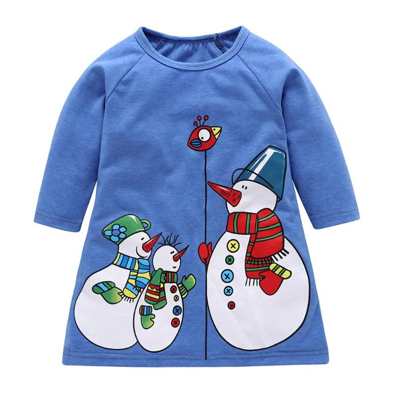 2018 Chrismas Girls Dress Christmas Snowman Print Girls Cute Long Sleeve Casual Loose Dress Clothes Costume New Year Clothing недорого