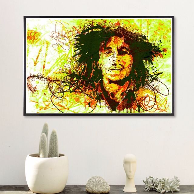 Abstract Colorful Bob Marley Vintage Art Painting Canvas Poster Wall ...