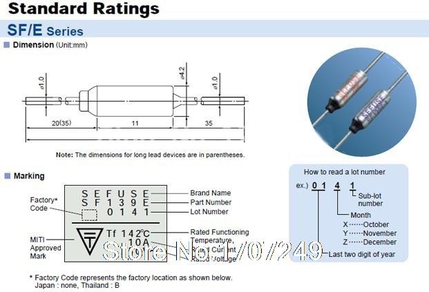 3x P7-5A-F fusible thermique 5 A 150 ° C aupo