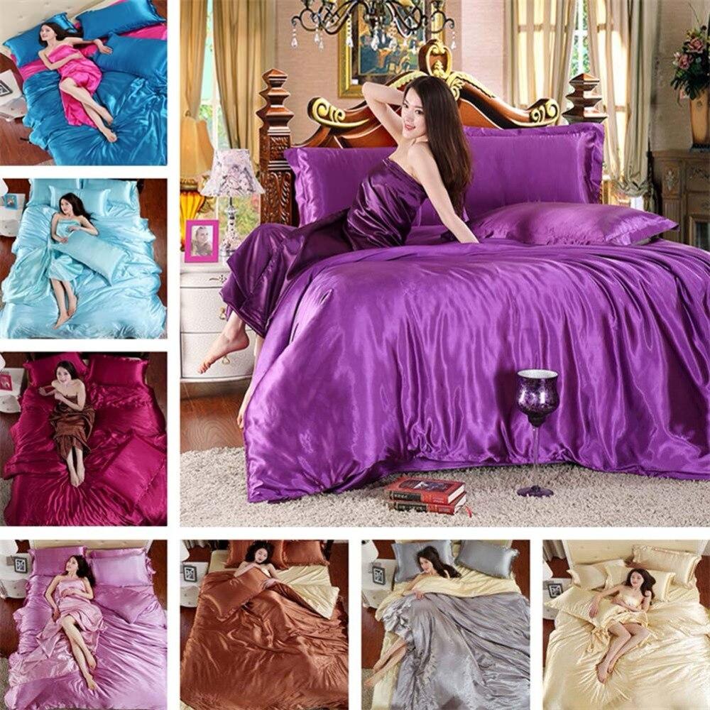 100% Pure Satin Silk Bedding Set King Size Bed Bedclothes Duvet Cover Flat Sheet Pillowcases Home Textile 3 pcs/4 pcs