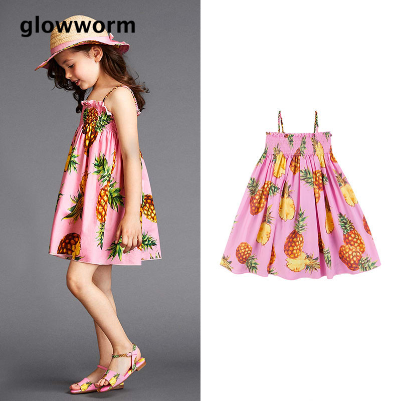 GlowwormKids Summer Fashion Runway Baby Girls Dress Printed Beach Girls Dress Senior Girls Wear 2-7T hs080
