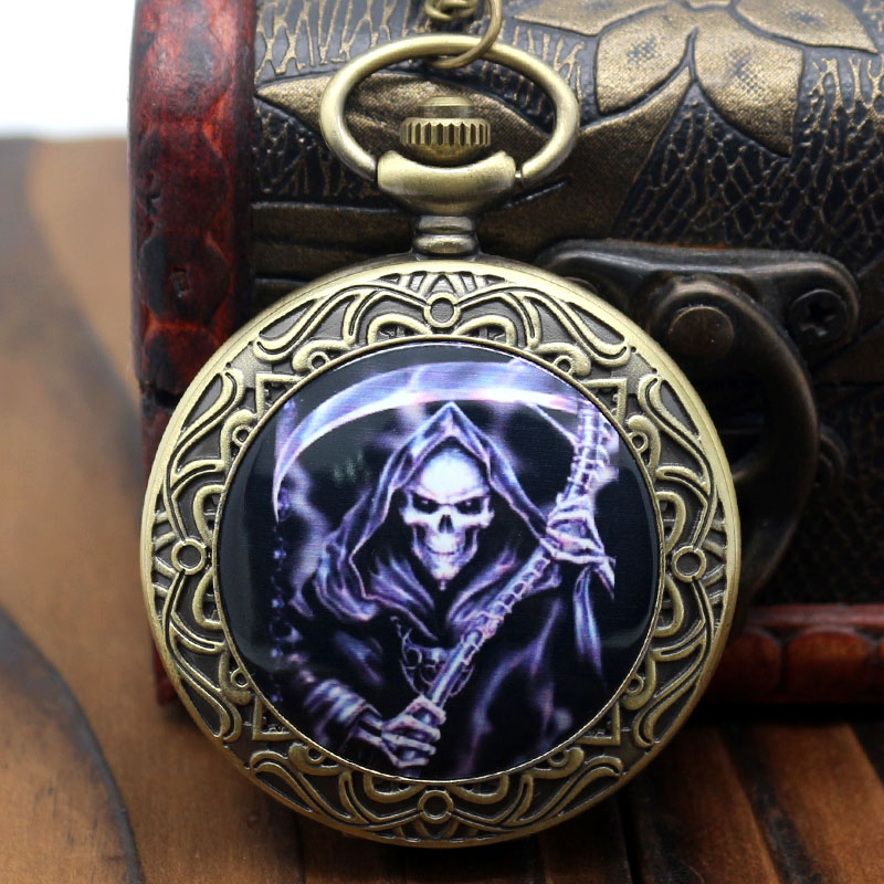 Cool Death Design Pocket Watch Dead Theme Bronze Fob Watch With Chain Necklace For Gift