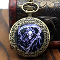Cool Death Design Pocket Watch Smart Dead Theme Bronze Fob Watch With Chain Necklace For Gift