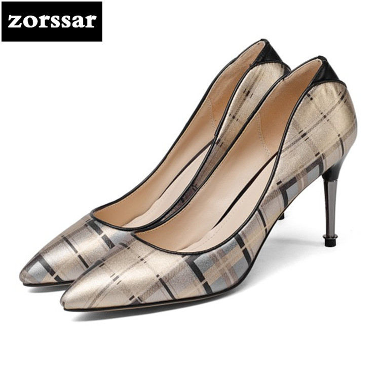 {Zorssar} Brand 2018 New arrival Fashion Gold women thin Heels pumps Pointed toe Shallow shoes High heels womens shoes summer new 2017 spring summer women shoes pointed toe high quality brand fashion womens flats ladies plus size 41 sweet flock t179