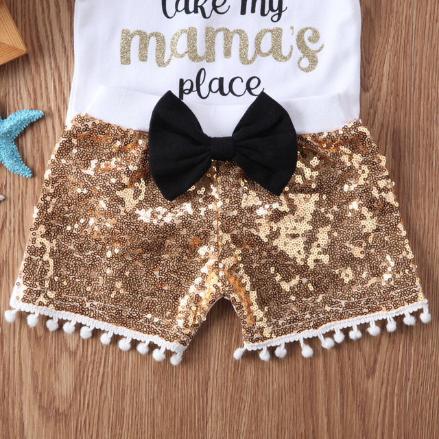 New Fashion Newborn Baby Girl Boy Clothes Set Sequins 3pcs Outfits Romper Top Pants Headband Clothes Set Jumpsuit 4