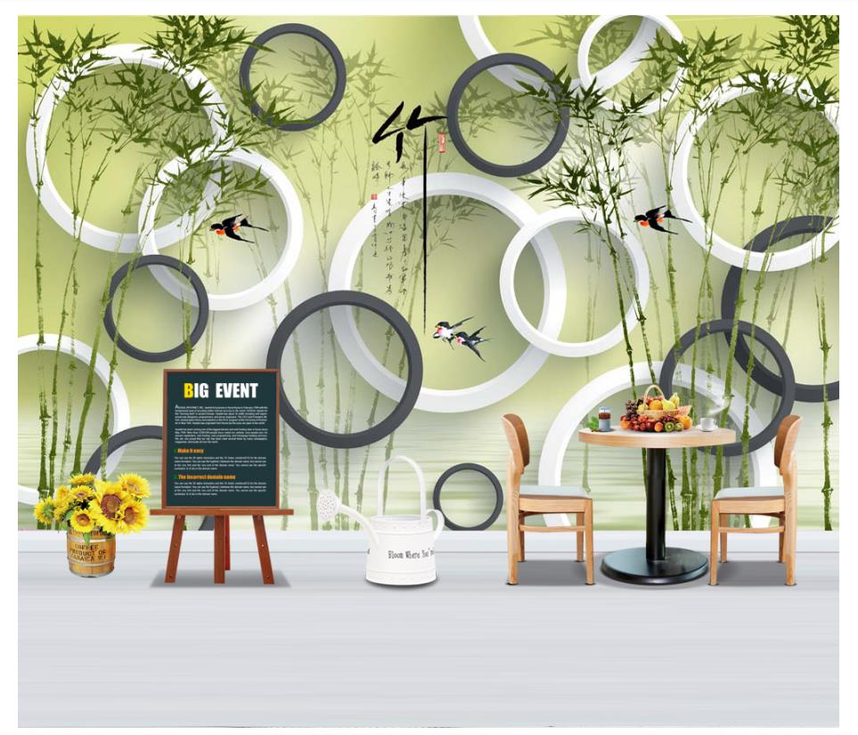US $12 21 OFF Custom Photo Wallpaper 3d Murals Wallpaper For Walls 3d Living Room Ink Bamboo Circle TV Background Wall Paper For Living