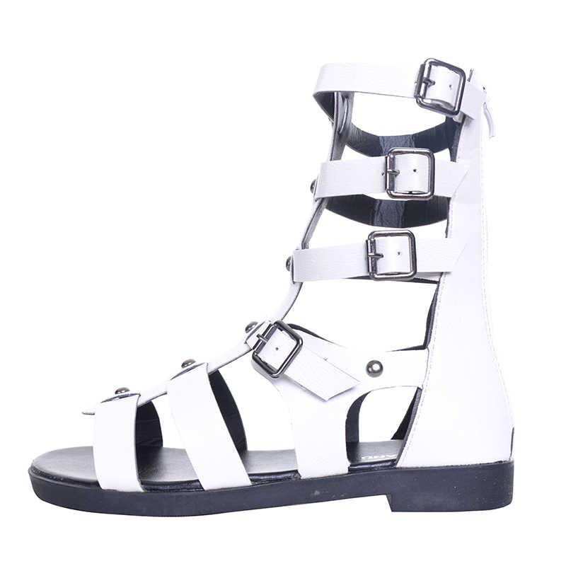 HEE GRAND/брендовые модные новые летние сандалии-гладиаторы; женская обувь на плоской подошве; ботинки с пряжкой; XWZ4202