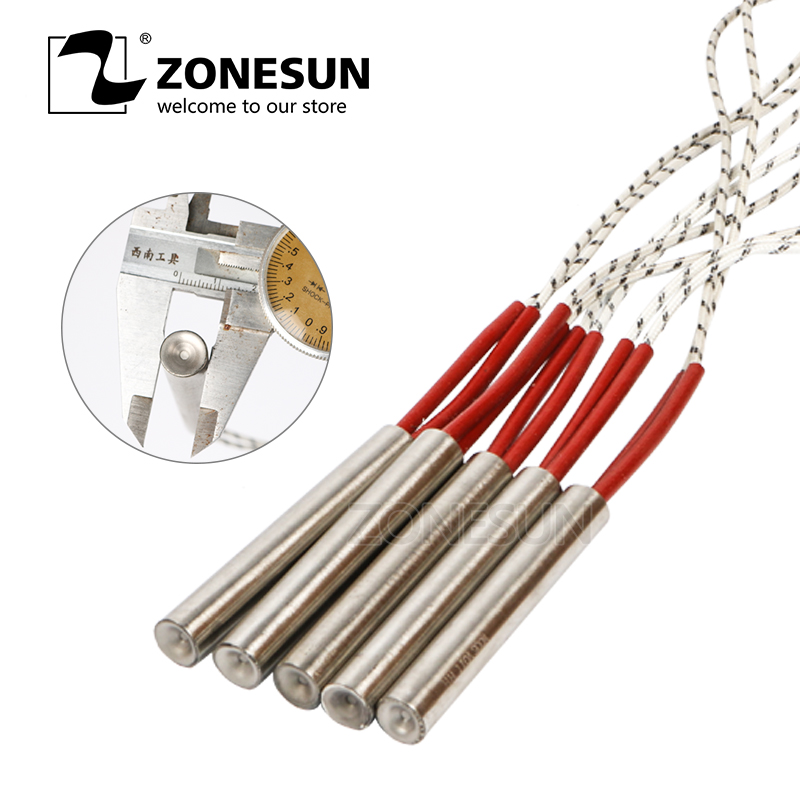 ZONESUN 30mm Length 5pcs Diameter 6.8.10.12mm Heating Element Mould Wired Cartridge Heater AC220V Electricity Generation