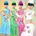 Дети упругой танцы Наряды pavaner современный танец костюм Девушки производительность одежда брюки павлин костюм танец костюм для шоу