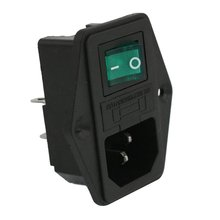 ETC-AC 10A 250V IEC320 C14 Inlet Module With Neon Lamp Rocker Switch and Fuse Holder