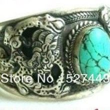 Wholesale Fast shipping Retro Relief Dragon Totem Tibet Silver Adjustable Bangle Open Brace
