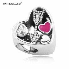 Pegada amor Del Regalo Del Encanto Cupieron Pandora Encantos Pulseras de Plata 925 Original para Las Mujeres DIY Joyería del Día de San Valentín regalos