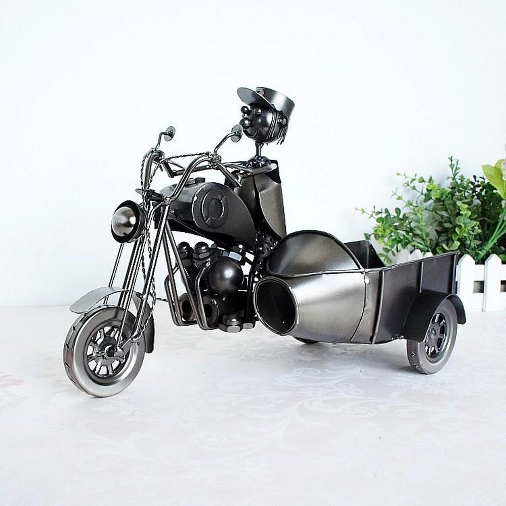 1 pièces modélisation créative de l'artisanat en métal pour trois roues moto vin livraison et casier à vin (sans bouteille) LU628539 - 2