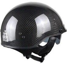 carbon fiber Motorcycle Motorbike Rider Half Retro for Harley Helmet Visor With Collar Vespa Open Face Motor with dual lens