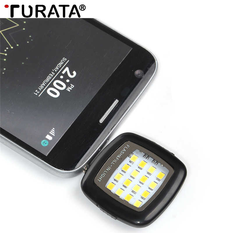 Turata Universal android led flash light selfie lamp lighting fill flashlight camera night For iPhone Samsung mobile Phone lens