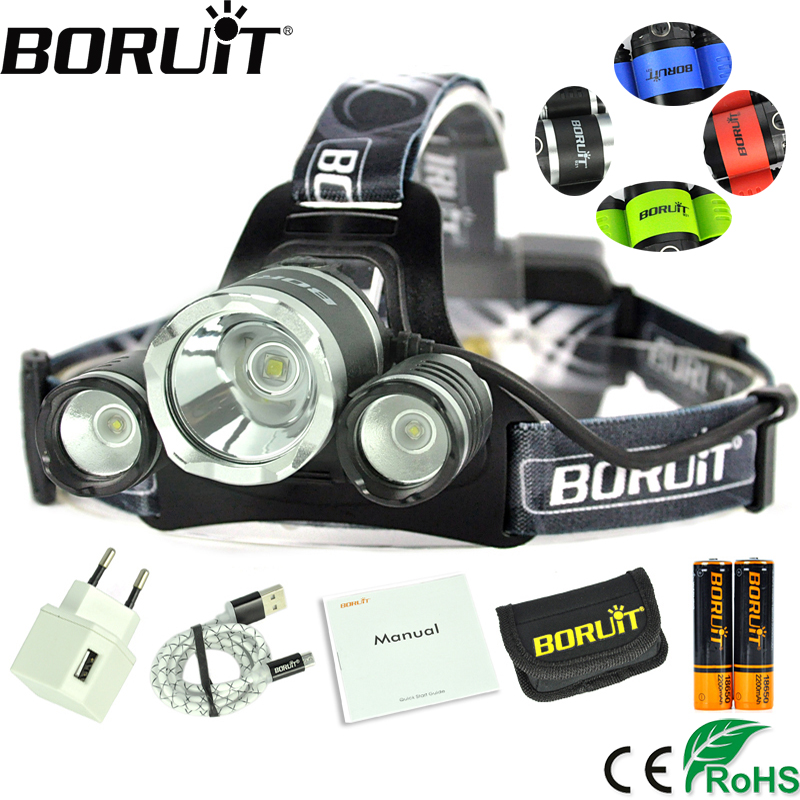 Boruit 4000LM XPE XM-L2 LED Headlamp 4-Mode Headlight Hunting Frontal Lantern Camping Head Torch Power Bank by 18650 Battery 3x xm l l2 8000 lm rechargeable headlamp outdoor headlight linterna frontal for hunting 18650 battery charger usb cable