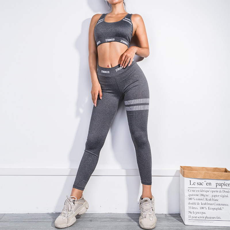 d4726e6a7819bc 2018 Stripe Stronger Polyester Femme Sexy Fitness Stretch Women GYM Sport  Crop Top Vest Yoga Set Suits Leggings -in Yoga Sets from Sports &  Entertainment on ...