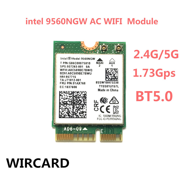 WIRCARD Dual Band Wireless AC 9560 For Intel 9560NGW 802.11ac NGFF Key E 2.4G/5G 2x2 WiFi Card Bluetooth 5.0