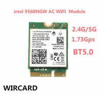 Wircard banda dupla sem fio ac 9560 para intel 9560ngw 802.11ac ngff chave e 2.4g/5g 2x2 wifi cartão bluetooth 5.0