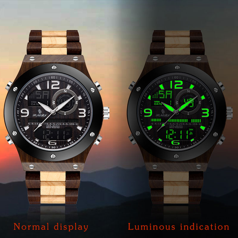 Wooden Watch Sandalwood Watch Male Multi-function Alarm Clock Seconds Display Electronic Quartz Dual Display Luminous Mens Watch(China)