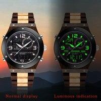 Relógio de madeira sândalo relógio masculino multi-função despertador segundos display eletrônico de quartzo duplo luminoso relógio masculino