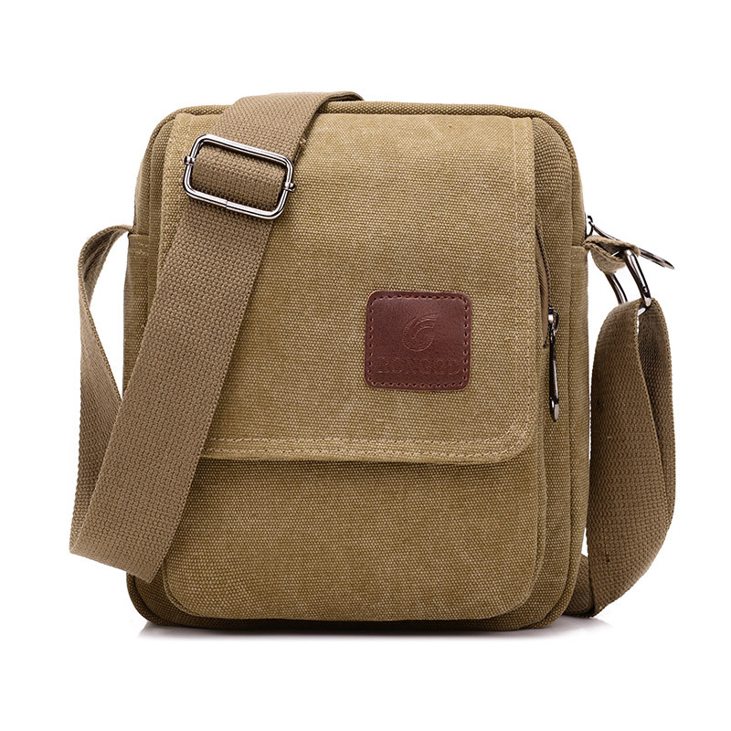 Light Shoulder Bags Men Vintage Old Coffee Color Messenger Strong Fabric Bags Cheap Stylish Crossbody Bags Multifunction Brief