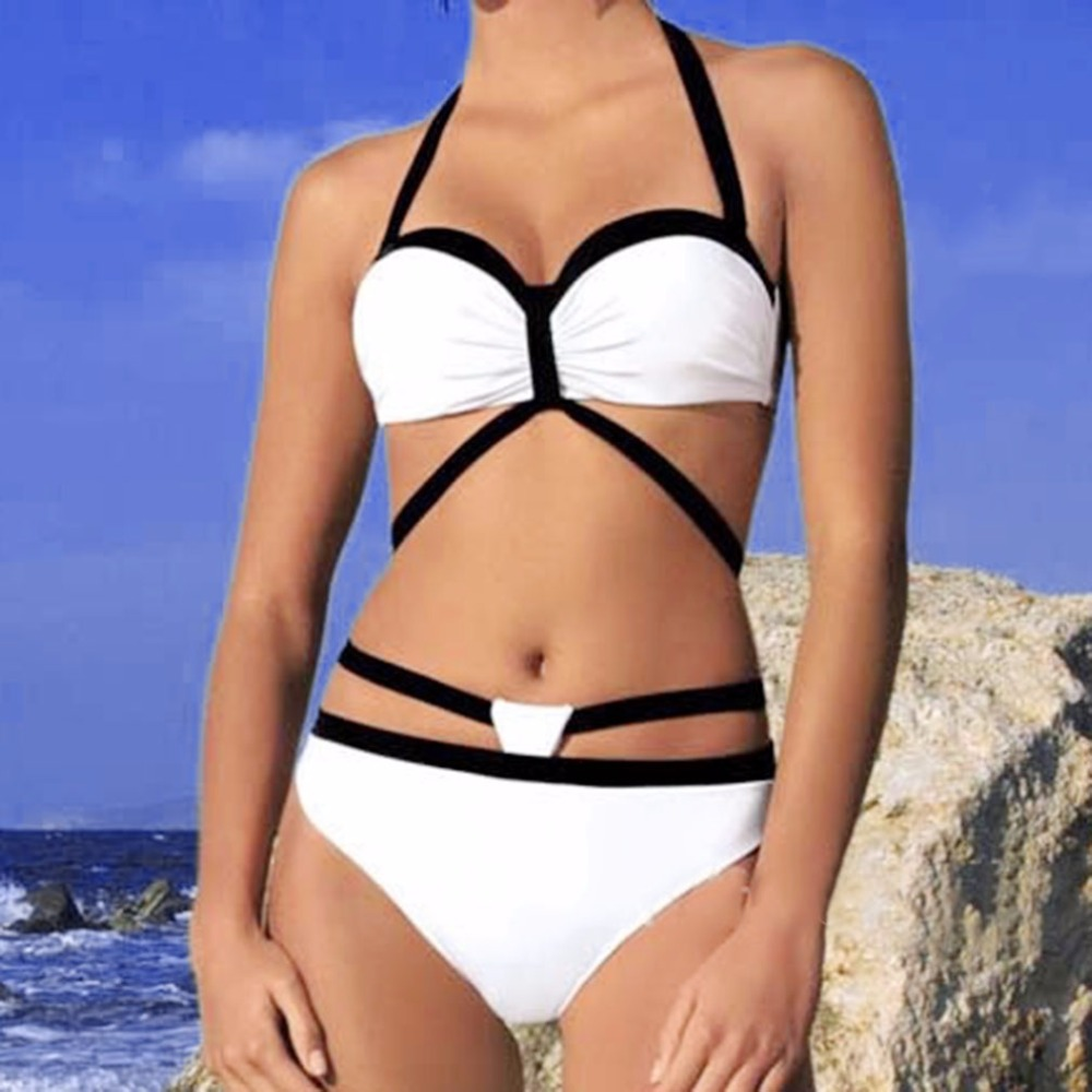 Beach black white bikini