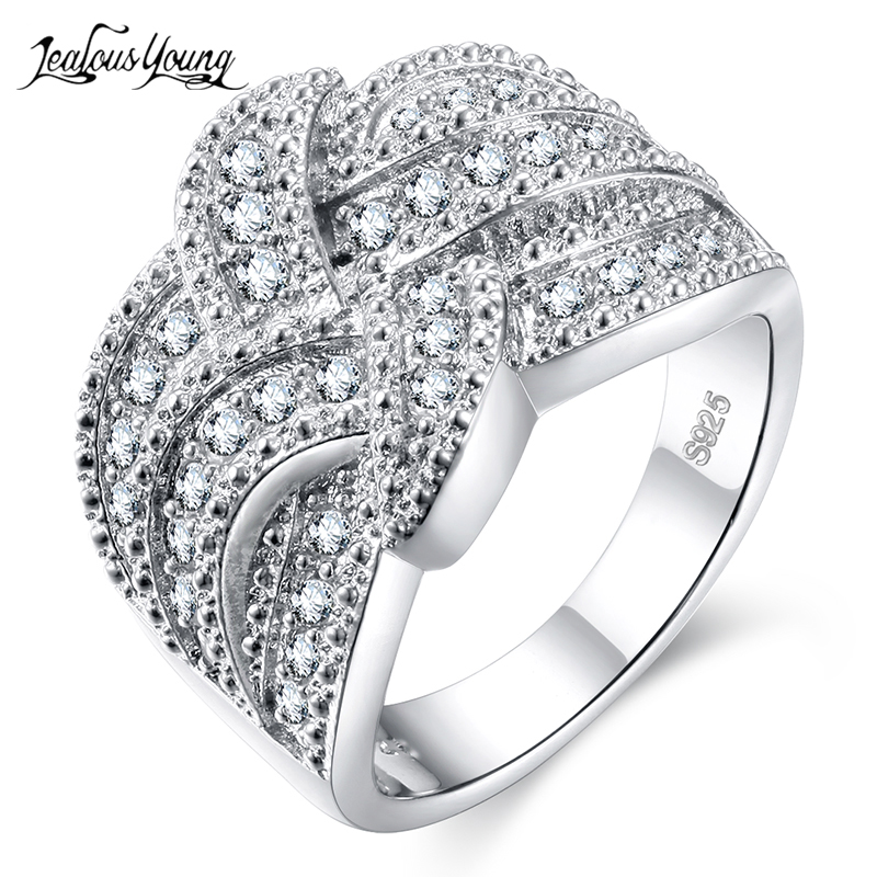 Luxury Romantic AAA Cubic Zirconia Ring For Women Silver Color Fashion Tie Shape Engagement Rings Party Jewelry Gift Anillos