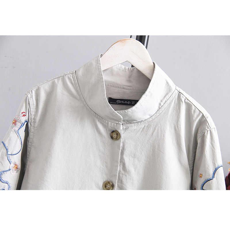 플러스 사이즈 여성 트렌치 코트 봄 가을 수 놓은 느슨한 싱글 브레스트 포켓 긴 얇은 윈드 브레이커 여성 캐주얼 겉옷