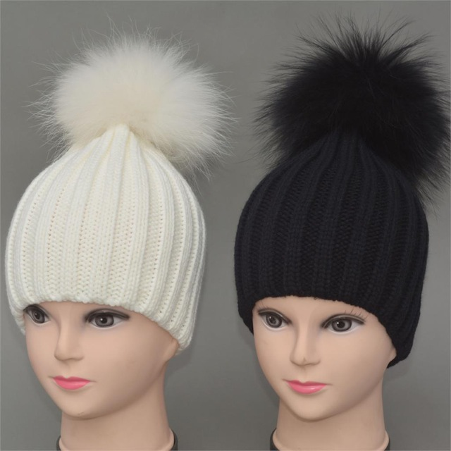 6c5d55cc92d Personality Christmas Fashion hats The hair ball KIDS hats Skullies Beanies  Caps knit hat BABY Girls Boys Raccoon Fur Pom Poms