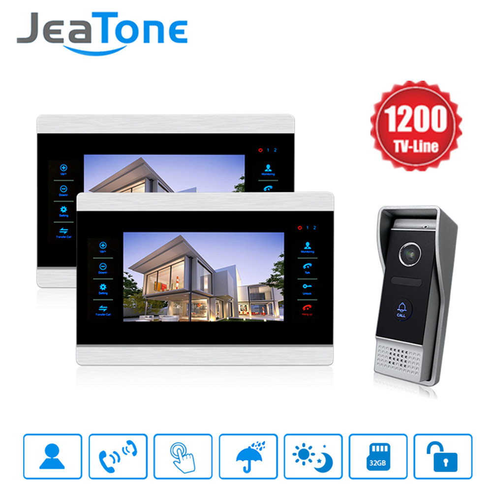 Jeatone 10 HD video door phone doorbell monitor with 1200TVL night vision doorbell outdoor panel kit 2V1 7 inch video doorbell tft lcd hd screen wired video doorphone for villa one monitor with one metal outdoor unit night vision