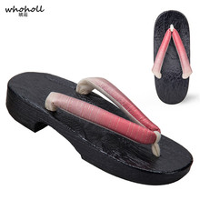 WHOHOLL women Flip-flops Kimono Slippers  Japanese Wooden Clogs geta Flat Platform slippers Small Size 33 34 Cosplay Costumes