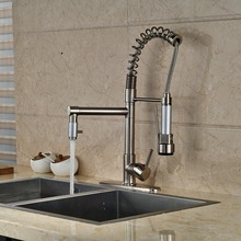 Modern Nickel Brushed Kitchen Faucet Swivel Spout Dual Sprayers Mixer Tap with 8″ Plate