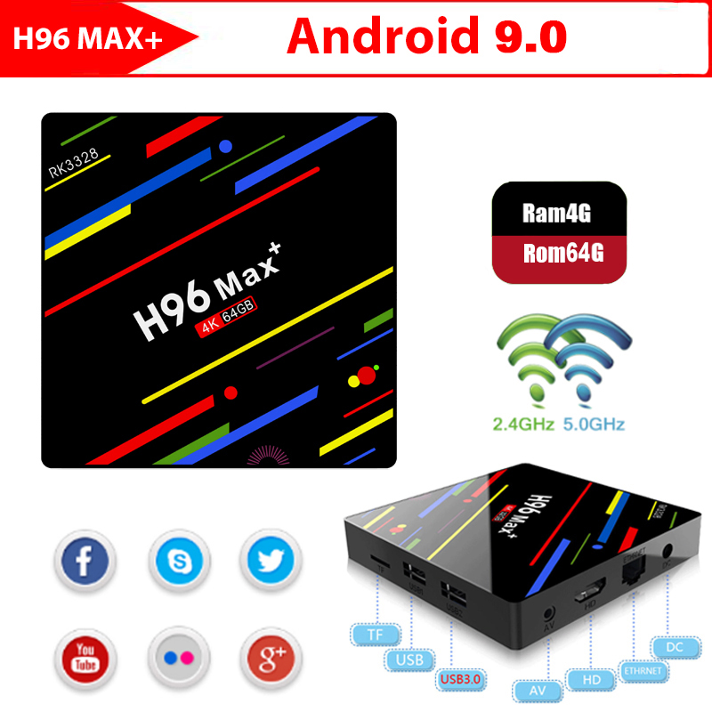 H96 MAX PLUS Smart TV BOX Android 9.0 OS 4GB RAM 32/64GB ROM  RK3328 Quad Core 1080p 4K H.265 WiFi 2.4G/5G BT4.0 Set Top BoxH96 MAX PLUS Smart TV BOX Android 9.0 OS 4GB RAM 32/64GB ROM  RK3328 Quad Core 1080p 4K H.265 WiFi 2.4G/5G BT4.0 Set Top Box