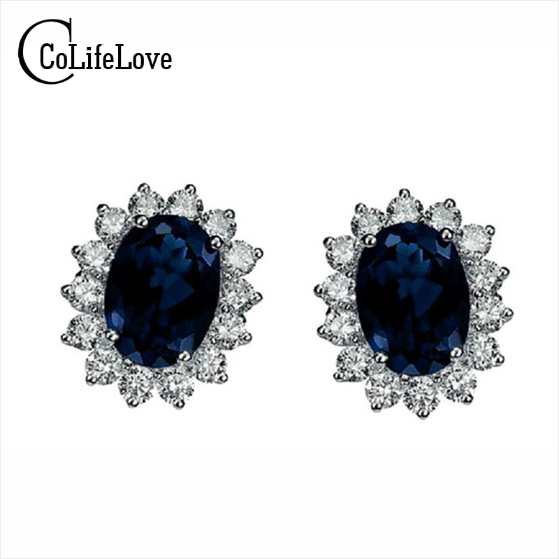 Classic genuine black sapphire earrings 925 Sterling Silver earring for woman anniversary gift evening party earrings