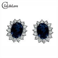 Free Shipping Classical Sapphire Earring With Pure 925 Silver Gem Size 4mm 6mm From The Biggest
