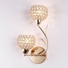 Современный Креативный Золотой Хрустальный настенный светильник для спальни гостиничная прикроватная лампа для коридора бра для гостиной настенный светильник