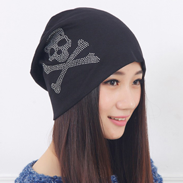 f4fa5d38e8c 2017 Fashion autumn and winter hats for women beanies diamond Skull Pattern  cap hip-hop