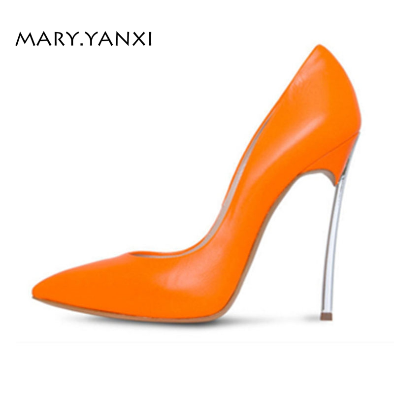 Spring/Autumn Women Pumps Big Size Lady Shoes Leather High Thin Heels Pointed Toe Casual Fashion Party Sexy Slip-On Shallow big size 40 41 42 women pumps 11 cm thin heels fashion beautiful pointy toe spell color sexy shoes discount sale free shipping