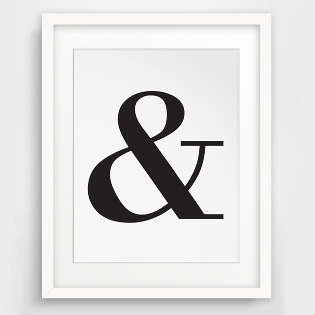 Ampersand, And Letter Symbol, Black and White Typography Wall ...