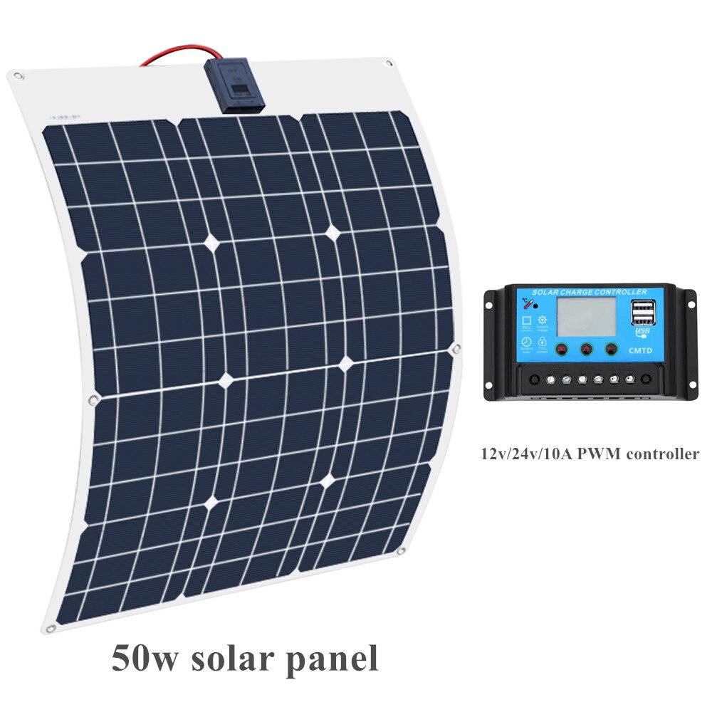 Boguang di Marca Batteria Solare Flessibile Pannello Solare 50 W 12 V 24 v Regolatore + 10A Sistema Solare Kit per cabina Barca da pesca di Campeggio