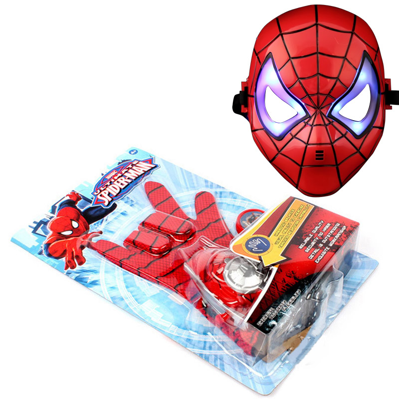 Amazing <font><b>Spiderman</b></font> Action Figure <font><b>Flying</b></font> saucer Launcher with LED Mask with <font><b>Hero</b></font> Glove Role Play Toy Kid Brinquedo slinger Glowing
